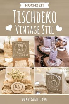 Hochzeit Tischdeko - selbst online gestalten The rustic # vintage style is an integral part of many weddings. Homemade table decorations made of wood or flowers do not always have to defy romance. Boho Wedding, Wedding Table, Rustic Wedding, Wedding Gifts, Wedding Themes, Wedding Decorations, Table Decorations, Homemade Tables, Diy Décoration