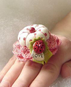 Love Bug Treasured Ring Pincushion by TheFinickyFrog on Etsy