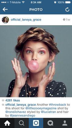 girl woman gum hair headshot funny studio