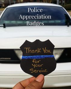 Thin Blue Line Crafts: Police Appreciation Badges. Put on thank you bags maybe with scrapbook glue to close the bag Police Crafts, Police Memorial, Police Wife Life, Police Lives Matter, Activity Days, Thin Blue Lines, Criminal Justice, Appreciation Gifts, Silhouette Projects