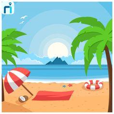Beach vectors, photos and psd files Vacation Pictures, Beach Pictures, Cool Pictures, Vacation Ideas, Beach Illustration, Landscape Illustration, Mouse Illustration, Beach Background, Vector Background