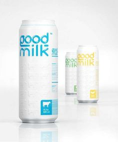 """Cool Packaging And Design For """"Good Milk"""". Now Available In Aluminum Cans And Tetra Pak. Milk Packaging, Cool Packaging, Beverage Packaging, Bottle Packaging, Brand Packaging, Packaging Ideas, Dairy Packaging, Tetra Pak, Design Da Garrafa"""