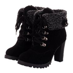 WeiPoot Womens Round Closed Toe High Heels PU Solid Boots with Chunky... ❤ liked on Polyvore featuring shoes, boots, platform bootie, high heel boots, wide boots, chunky heel boots and platform shoes