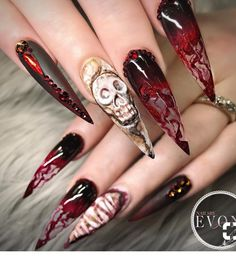Unique and creative Halloween nail design acrylic; Hallow… Unique and creative Halloween nail design acrylic; Goth Nails, Skull Nails, Stiletto Nails, Gradient Nails, Rainbow Nails, Coffin Nails, Halloween Acrylic Nails, Halloween Nail Designs, Acrylic Nail Designs
