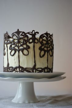 whisky & dark chocolate 'the beautiful & the damned' cake - from poires au chocolat