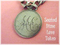1800s Love Token - 1891 Seated Dime Love Token, Sorority & Swimming Sterling Silver Charm Bracelet - Swin Swimmer Charm - FREE SHIPPING by FindMeTreasures on Etsy