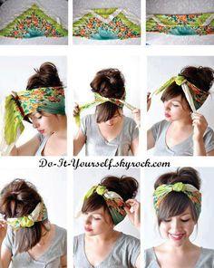 trendy Ideas for how to wear a bandana in your hair tutorial bangs Turban Headbands, Diy Headband, Headbands For Short Hair, Knotted Headband, Bandana Hairstyles, Diy Hairstyles, Simple Hairstyles, Vintage Hairstyles Tutorial, Curly Hair Styles