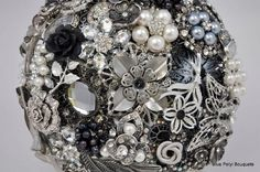 Black and Silver Brooch Bouquet by Blue Petyl Bouquets #wedding #bouquet