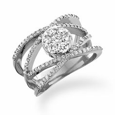 14k White Gold Crossover Band Endless Diamond Ring
