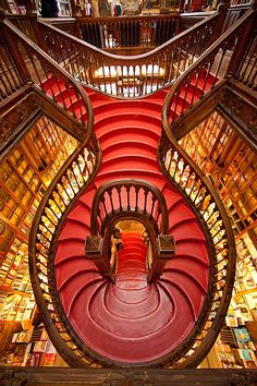 Staircase in the Lello Bookstore, Porto, Portugal