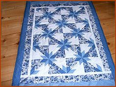 Hunter's Star Lap Quilt - love hunter's star, love blue and white *