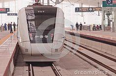 Zhuhai, China - Febuary 12, 2013: Chinese high speed train waited for the start, stop at Zhuhai railway station