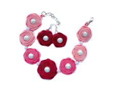 Soutache earrings and bracelet. Fuchsia, pastel pink and rose.