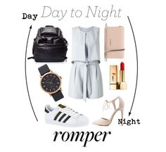 """""""Day to Night Rompers"""" by hannahtmichelle ❤ liked on Polyvore featuring Miss Selfridge, Charlotte Russe, Givenchy, Yves Saint Laurent, adidas, Alexander McQueen, Marc Jacobs, DayToNight and romper"""