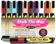 Earthy Liquid Chalk Ink Markers -10 Piece Value Pack. 6mm Chisel Tip, Brilliantly Rich Earthy Colors. Perfect for Bistros, Classrooms, Non-Porous Chalkboards, Whiteboards, China, Mirrors, Glass & Ceramics. Dustless, Water Based & Easily Erasable! Chalk This Way http://www.amazon.com/dp/B00E5VBVE4/ref=cm_sw_r_pi_dp_BGdVub0RP4RDH