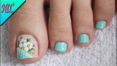 Toenail Art Designs, Flower Nail Designs, Pedicure Nail Art, Toe Nail Art, Glitter Pedicure Designs, Hello Nails, Bright Pink Nails, Cute Pedicures, Pretty Toe Nails