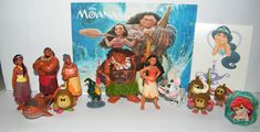 Disney Moana Movie Deluxe Figure Toy Set of 14 with Figures, a sparkle Ring and Tattoo Sheet Featuring the newest Disney Princess Moana, Demigod Maui and Many More! by Princess Toy. This fun set of 14 includes 12 Movie figures, a Princess sparkle ring and tattoo sheet!. This set features all of the popular characters including the newest Disney Princess Moana!. The fun figures are 1 to 3 in. tall and are self standing but a few may need to be hand held. These are nicely shipped in plastic…