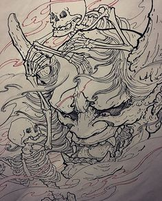 Hannya mask and skeletons!! Who's down for this ??
