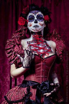 Dia de los Muertos makeup. [ MexicanConnexionForTile.com ] #DayoftheDead #Talavera #handmade