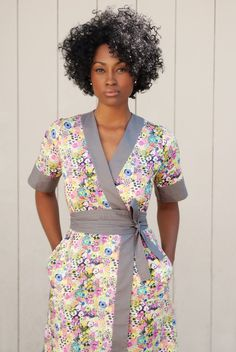 Liberty Art-Print Kimono Dress with Pockets & Obi-Belt, Colorblocked in Solid Color. Liberty Wrap-Dress. Made To Order.