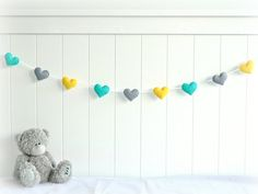 Heart banner/ garland/ bunting in turquoise, yellow and gray felt - Nursery decor - birthday decoration on Etsy, $24.00