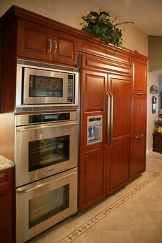 Double ovens microwaves and love on pinterest for Double oven and microwave cabinet