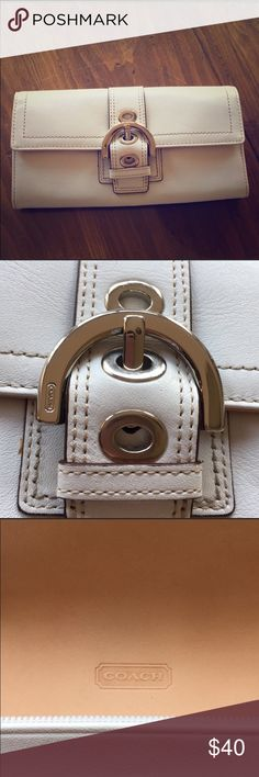 Coach Soho Wallet Coach wallet w/buckle hardware-off white leather, chrome details, credit card slots on inside/outside, zipper coin section and other compartments Never before used-no imperfections Coach Bags Wallets