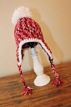 Crochet Earflap Hat Red   White   Black Multicolor by EmilysSpace 3916f647cdb4