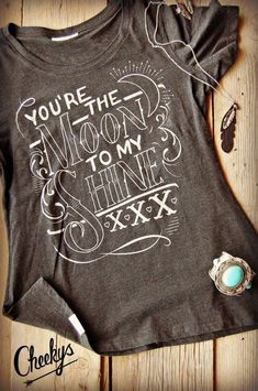 You're the Moon to my Shine Vintage Black Scoop Tee with Silver Shimmer