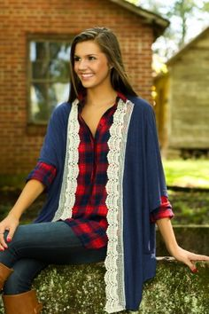 On A Whim Cardigan-Navy