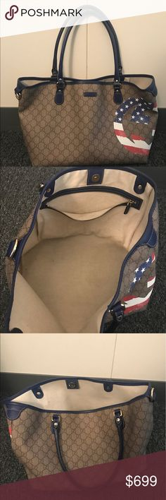 Gucci American Flag Tote Real. Used. Good condition. No imperfections. Gucci Bags Totes