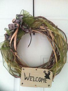 Welcome Wreath, Camo Wreath, Home decor, Hunting Wreath, Fall welcome Wreath, Camo Welcome Wreath