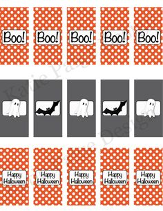 Happy Halloween Party - Printable Custom Mini Candy Bar Wrappers by KatiePaigeDesign