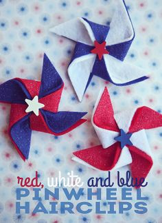 of July Pinwheel Hairclips - : red, white and blue. one of my most favorite color combos. It's always fun to be festive on the of July. So we made some pinwheel hairclips for the girls to wear that day. Patriotic Crafts, July Crafts, Holiday Crafts, Holiday Fun, Festive, Patriotic Party, 4th Of July Party, Fourth Of July, Craft Projects