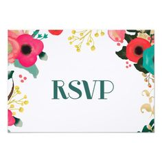 Modern Romantic Floral Watercolor Painting Design Personalized Wedding Response Cards. Matching Wedding Invitations, Bridal Shower Invitations, Save the Date Cards, Wedding Postage Stamps, Bridesmaid To Be Request Cards, Thank You Cards and other Wedding Stationery and Wedding Gift Products available in the Modern Design Category of the youweddingday store at zazzle.com
