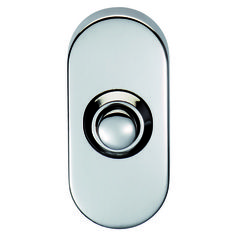Oval Bell Push SWE1030 in BSS, PVD, SSS Finish. A contemporary door bell push on a deep oval plinth, for the ultimate in modern appeal. Certified to BS EN 1670. Fire door rated. Part of the Steelworx range in Grade 316 Stainless Steel. Suitable for domestic and commercial use.