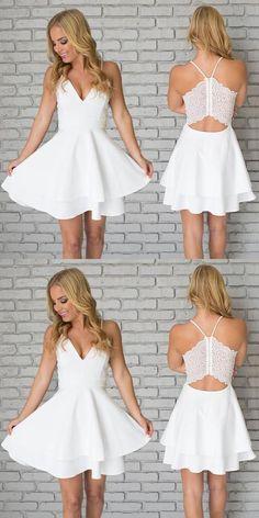 White Homecoming Dresses,Spaghetti Straps Homecoming Dresses,Short Mini Homecoming Dresses,Cocktail Dresses,Graduation Dresses,White Prom Dress,V neck Homecoming Dresses