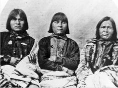 Three Hopi Indians from Oraibi pueblo, Arizona delegated to visit Brigham Young for the purpose of encouraging trade, 1863. Courtesy Utah Historical Society