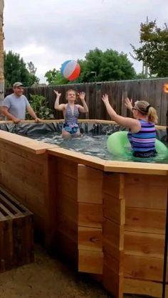 Homemade Swimming Pools, Above Ground Swimming Pools, Diy Pool, Swimming Pools Backyard, Pool Decks, Decks Around Pools, Above Ground Pool Landscaping, Deck Ideas For Above Ground Pools, Pallet Pool
