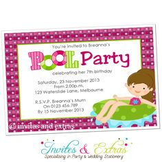 Pool Party Invitation for Girls Personalised