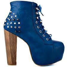 Blue wood heel boots <3