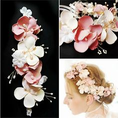 Vintage Artificial Flower Crystal Freshwater Pearls Wedding headband hair vine Hair clip bridal party headpiece hair accessories