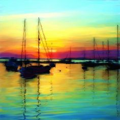 beauty of evening scenery painting
