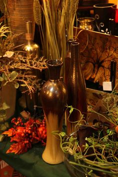 thin decorative vases in browns golds  Evergreen Lake of the Ozarks  home decor store