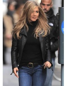 "So this is the most pinned from my pintrest boards: Winter Style - Trends for Winter - Harper's BAZAARHair_ long layers flowing, sleek biker jacket -""no bells and whistles ;)"