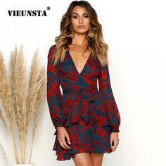 VIEUNSTA Vintage cuello V profunda impresión Floral vestido de mujer otoño  fiesta manga larga vestido vestidos ceñidos elegante Mini vestido 97754cca6
