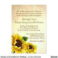 Antique Look Sunflowers Wedding Invitation
