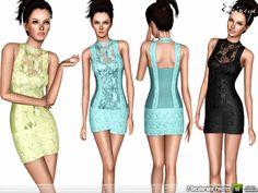 Metallic Paneled Dress by ekinege - Sims 3 Downloads CC Caboodle