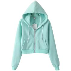 Turquoise Casual Ladies Long Sleeves Classic Zipper Plain Hoodie featuring polyvore fashion clothing tops hoodies outerwear cardigans turquoise hooded pullover zip hooded sweatshirt green hooded sweatshirt turquoise tops long sleeve hoodies