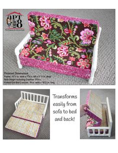 The AptOne8 Sleeper Sofa 18 inch Doll pattern. This pull-out Sleeper Sofa will make a great addition to your doll's bedroom or play area!